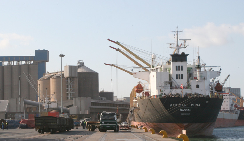 Which harbour plays a significant role in South Africa's grain trade?